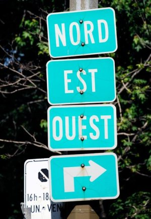Nord Est Ouest Road Signs in France