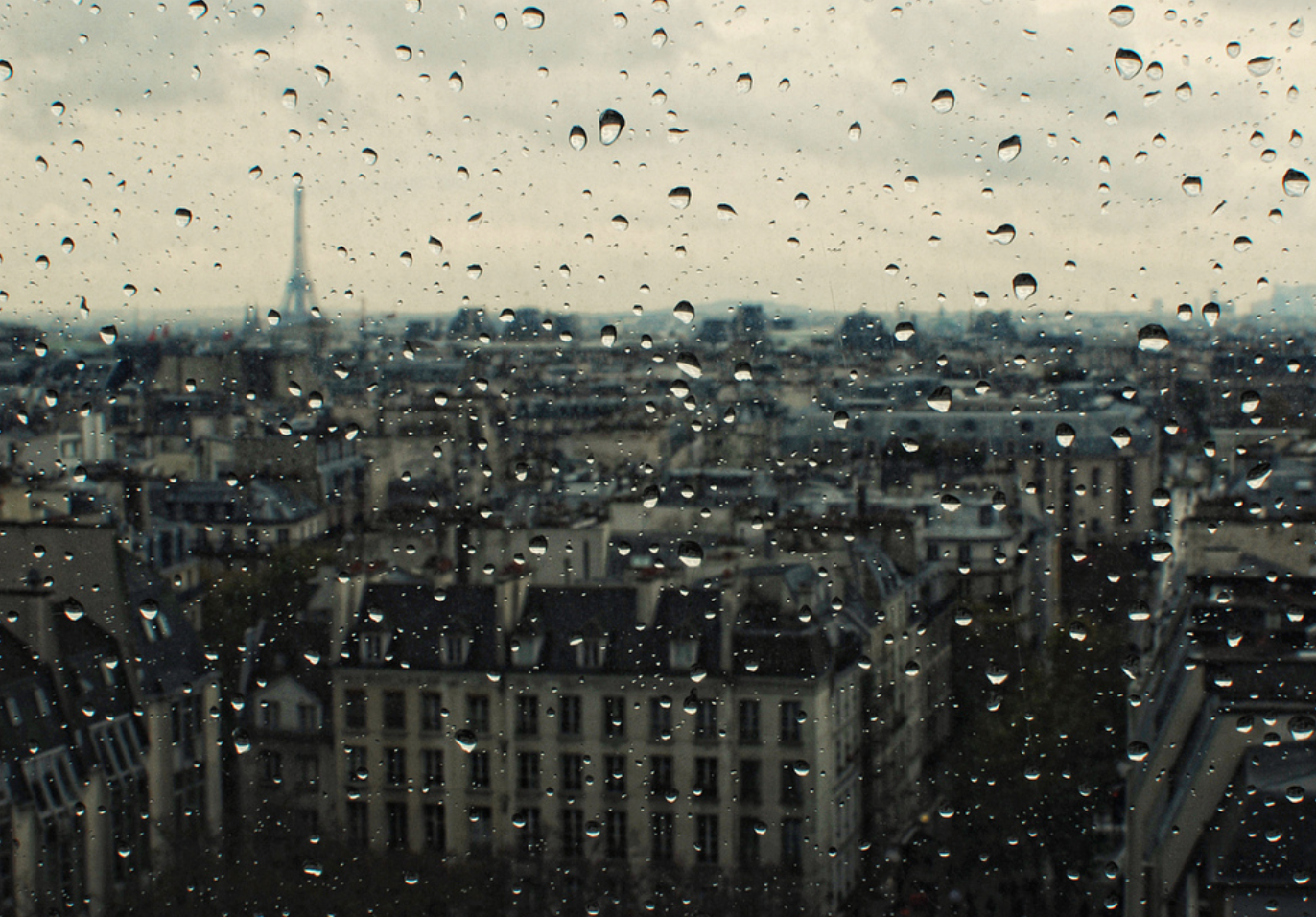 Paris and Eiffel Tower in Rain