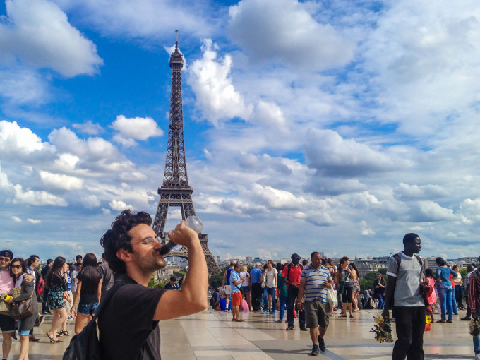 Bobble Water Bottle Around Eiffel Tower