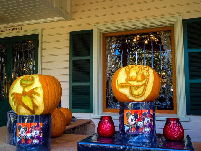 Donald Duck and Skellington Carved Pumpkins
