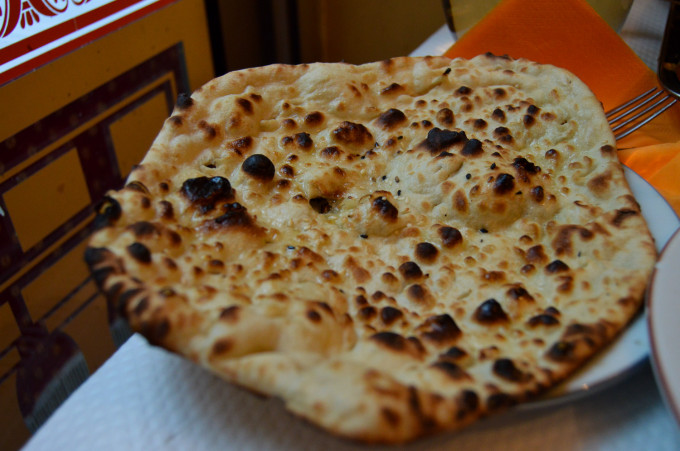 Nan Bread at Pooja Indian Restaurant Paris