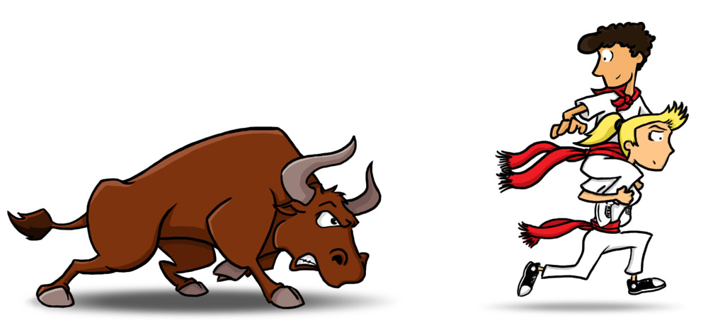 Running of the Bulls Cartoon